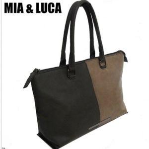 "Mia & Luca"" Handbag Tote Brown Tan Big Bag Purse"
